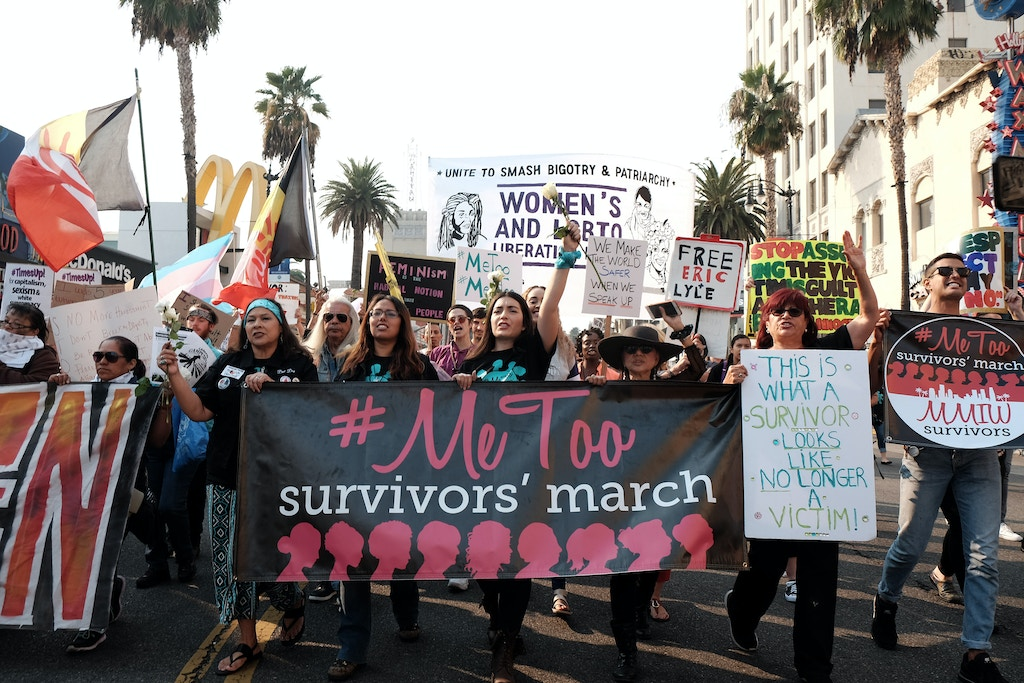 HOLLYWOOD, CALIFORNIA - NOVEMBER 10: Activists participate in the 2018 #MeToo March on November 10, 2018 in Hollywood, California. (Photo by Sarah Morris/Getty Images)