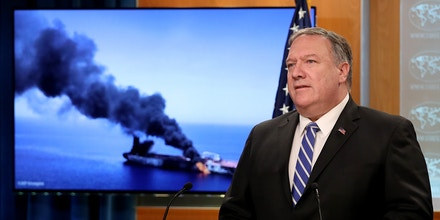 Secretary of State Mike Pompeo speaks on two oil tankers in the Gulf of Oman at a press conference in Washington, D.C., on June 13, 2019.