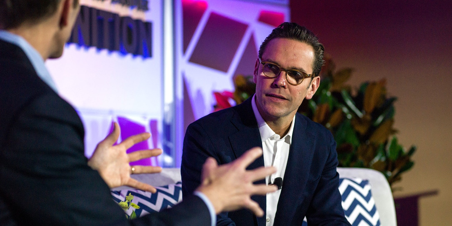 James Murdoch, chief executive officer of Twenty-First Century Fox Inc., listens during the IGNITION: Future Of Digital Conference in New York, U.S., on Tuesday, Dec. 6, 2016. The IGNITION conference brings together the best minds in media and technology to share what they see on the horizon. Photographer: Misha Friedman/Bloomberg via Getty Images
