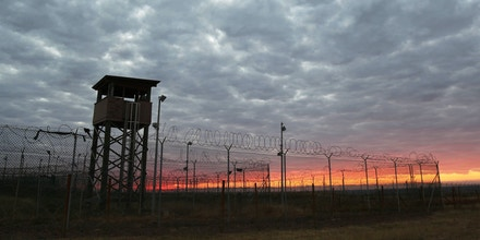 Sunrise over Camp Delta at Guantánamo Bay, Cuba, on Jan. 29, 2017.