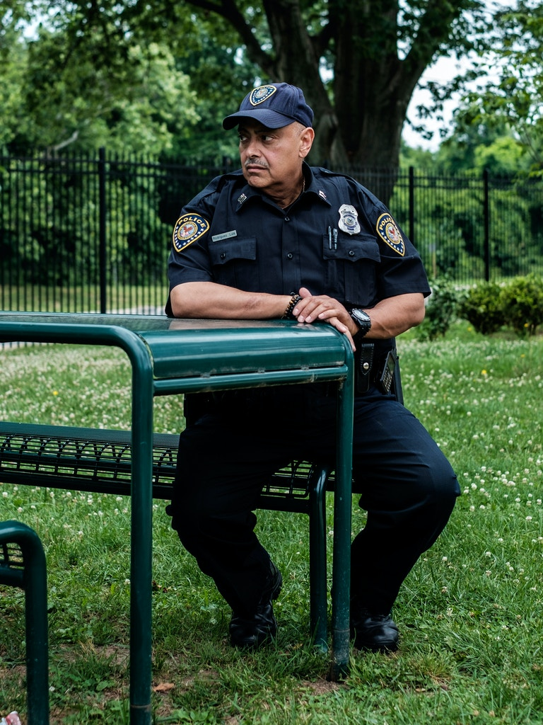 CPT Luis Rodriguez of the Veteran Affairs police department sits outside of his office in Washington, DC, on June 16, 2019. Rodriguez faced retaliation from his superiors after he attempted to file a formal complaint to report corruption within the Veteran Affairs police department.