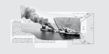 At left, an oil tanker is on fire in the Gulf of Oman on June 13, 2019. At right, the USS Maddox in the Gulf of Tonkin, August 1964.