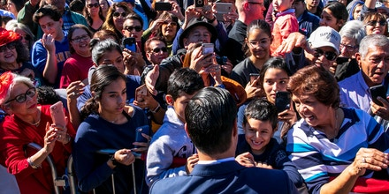 Julián Castro, the former housing secretary and former mayor of San Antonio, greets supporters after announcing that he will run for president in 2020, making him one of the most high-profile Latino Democrats ever to seek the party's nomination, in San Antonio, Jan. 12, 2019. (Ilana Panich-Linsman/The New York Times)