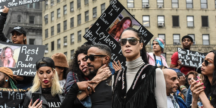 Transgender rights activists gather for a rally to demand an investigation into the death of Layleen Polanco, a transgender woman, while at Rikers, in New York, June 10, 2019. Polanco was found unresponsive in her cell two months after bring sent to Rikers because she could not afford to pay a $500 bail. (Stephanie Keith for The New York Times)