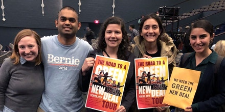 Recently graduated Movement School fellows at the Sunrise Movement town hall event in Washington, D.C., in May 2019. From left, fellows Claire Wyatt, Kishan Yerubandi, Roxana Segovia-Beltran, Victoria Rodriguez, and Joseline Garcia.