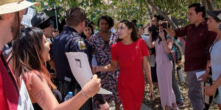 US Representative Alexandria Ocasio-Cortez (D-NY) attends a tour Border Patrol facilities and migrant detention centers for 15 members of the Congressional Hispanic Caucus on July 1, 2019 in Clint, Texas. (Photo by Luke MONTAVON / AFP)        (Photo credit should read LUKE MONTAVON/AFP/Getty Images)