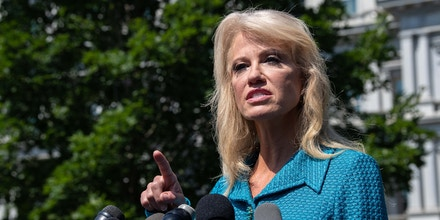 White House counselor Kellyanne Conway speaks to the press at the White House in Washington, DC, on July 16, 2019. (Photo by NICHOLAS KAMM / AFP)        (Photo credit should read NICHOLAS KAMM/AFP/Getty Images)