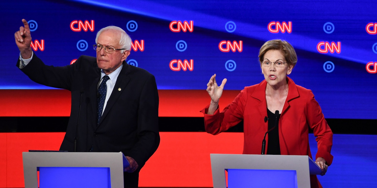 Democratic presidential hopefuls US senator from Vermont Bernie Sanders and US Senator from Massachusetts Elizabeth Warren participate in the first round of the second Democratic primary debate of the 2020 presidential campaign season hosted by CNN at the Fox Theatre in Detroit, Michigan on July 30, 2019. (Photo by Brendan Smialowski / AFP) (Photo credit should read BRENDAN SMIALOWSKI/AFP/Getty Images)