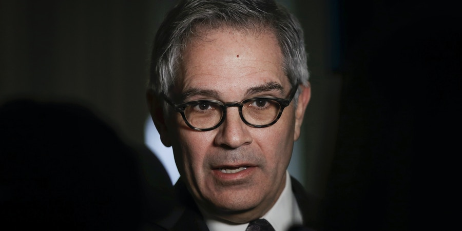 Philadelphia District Attorney Larry Krasner speaks with members of the media during a news conference in Philadelphia, Wednesday, Feb. 6, 2019. (AP Photo/Matt Rourke)