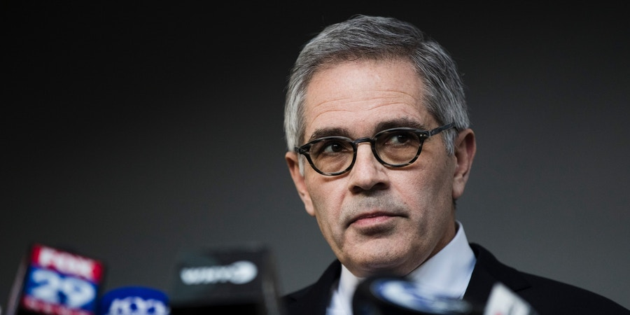 Philadelphia District Attorney Larry Krasner speaks during a news conference in Philadelphia, on March 6, 2019.