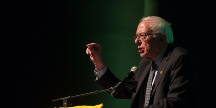 Sen. Bernie Sanders speaks at the Sunrise Movement's Green New Deal Tour in Washington, D.C., on May 13, 2019.