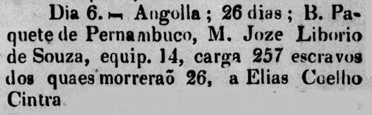 Anúncio reporta a chegada do paquete Pernambuco, vindo de Angola, numa viagem que durou 26 dias. Embarcaram 257 cativos, sendo que 26 morreram, que se destinavam a Elias Coelho.