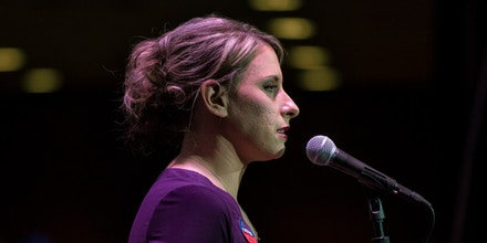 Katie Hill speaks during her election night watch party in Santa Clarita, Calif., on Nov. 6, 2018.