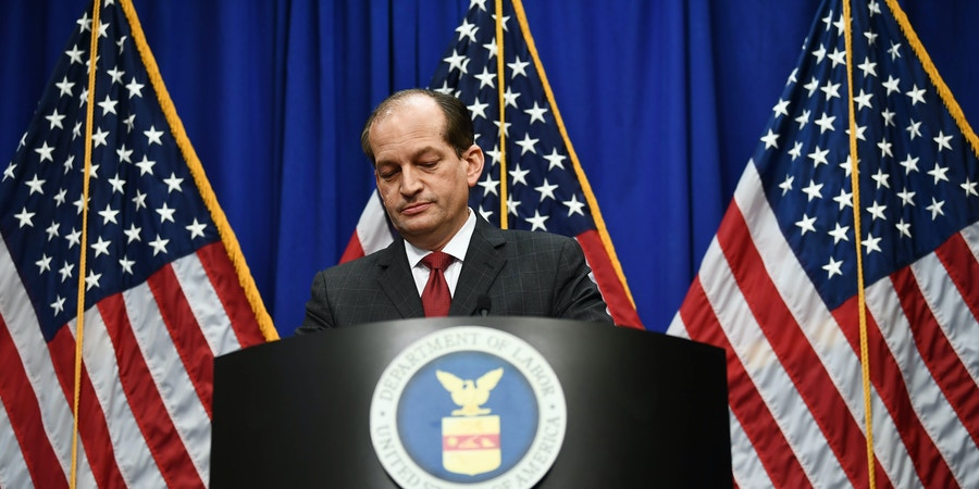 Labor Secretary Alexander Acosta holds a press conference at the US Department of Labor on July 10, 2019 in Washington,DC. - Democratic Party leaders called on July 9, 2019 for the resignation of President Donald Trump's secretary of labor over a secret plea deal he made a decade ago with a wealthy hedge fund manager accused of sexually abusing young girls. Labor Secretary Alexander Acosta, 50, was serving as a federal prosecutor in Florida when his office entered into the controversial plea agreement with financier Jeffrey Epstein. (Photo by Brendan Smialowski / AFP)        (Photo credit should read BRENDAN SMIALOWSKI/AFP/Getty Images)