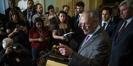 WASHINGTON, DC - JULY 16: Senate Minority Leader, Chuck Schumer (D-NY), speaks to the media during a press conference following the Senate Republican Leadership lunches on July 16, 2019 in Washington, DC. (Photo by Pete Marovich/Getty Images)