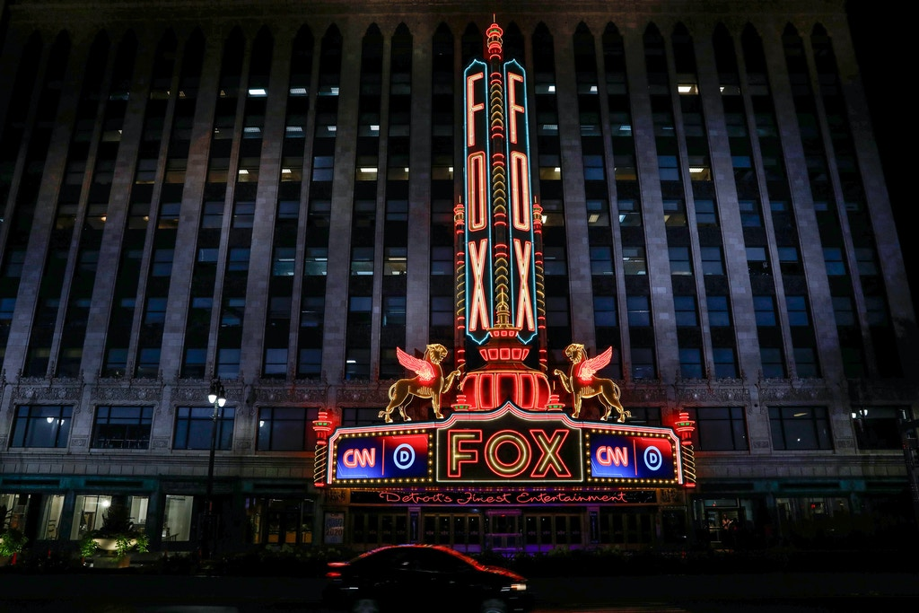 View of the Fox Theatre building in Detroit, Michigan on July 29, 2019. - Democrat presidential candidates will debate in Detroit on July 30-31. The Fox Theatre was designed by architect Charles Howard Crane and opened in 1928. (Photo by JEFF KOWALSKY / AFP)        (Photo credit should read JEFF KOWALSKY/AFP/Getty Images)