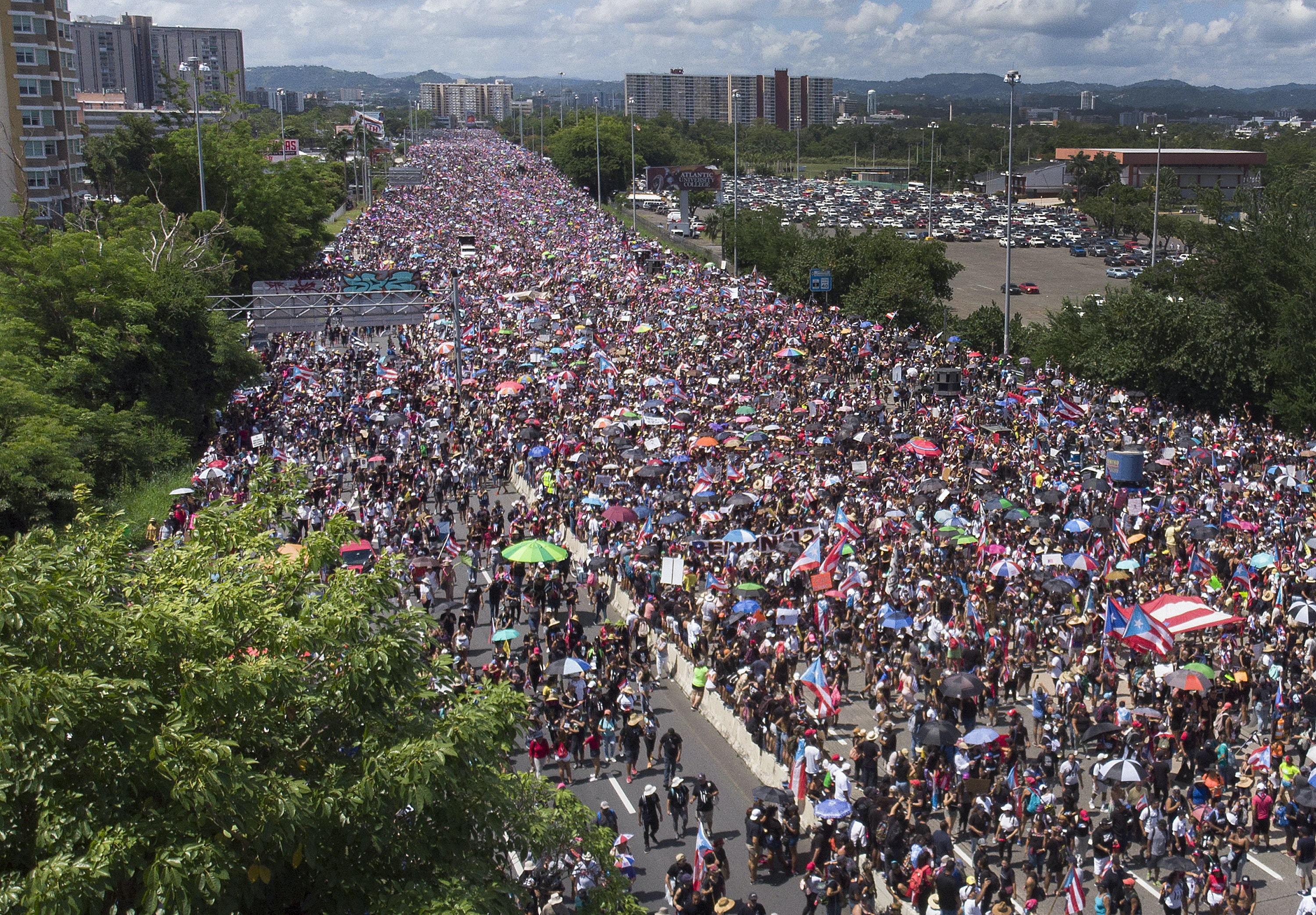 SAN JUAN, PUERTO RICO - JULY 22: An aerial view from a drone shows thousands of people as they fill the Expreso Las Américas highway calling for the ouster of Gov. Ricardo A. Rosselló on July 22, 2019 in San Juan, Puerto Rico. The protesters are calling on Gov. Rosselló to step down after a group chat was exposed that included misogynistic and homophobic comments. (Photo by Joe Raedle/Getty Images)