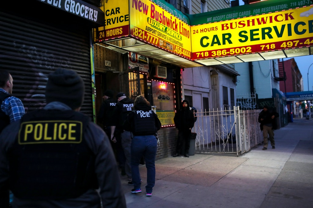 "NEW YORK, NY - APRIL 11:  U.S. Immigration and Customs Enforcement (ICE), officers stage a raid to arrest an undocumented immigrant on April 11, 2018 in New York City. New York is considered a ""sanctuary city"" for undocumented immigrants, and ICE receives little or no cooperation from local law enforcement.  ICE said that officers arrested 225 people for violation of immigration laws during the 6-day operation, the largest in New York City in recent years. (Photo by John Moore/Getty Images)"