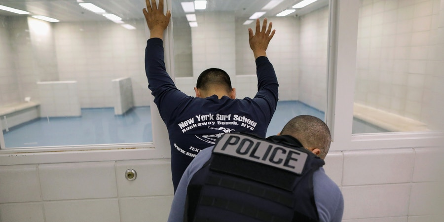 NEW YORK, NY - APRIL 11:  An undocumented immigrant is frisked by an Immigration and Customs Enforcement (ICE), officer after arriving to an ICE processing center on April 11, 2018 at the U.S. Federal Building in lower Manhattan, New York City. ICE detentions are especially controversial in New York, considered a