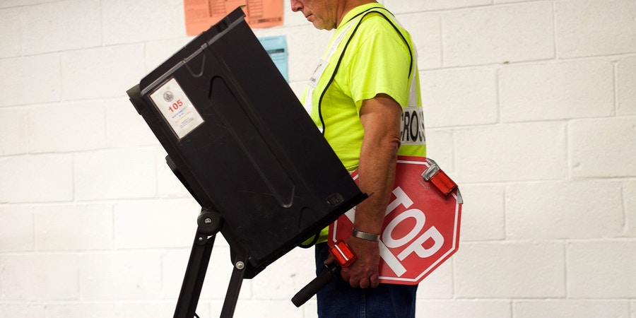 NANTICOKE, PA - MAY 15:  Crossing guard Chester A. Prushinaki, 71, casts his vote at the Greater Nanticoke Area School District Football Stadium polling station during the 2018 Pennsylvania Primary Election on May 15, 2018 in Nanticoke, Pennsylvania.  In the second major May primary day nationwide, four states go to the polls: Idaho, Nebraska, Oregon, and Pennsylvania.  (Photo by Mark Makela/Getty Images)