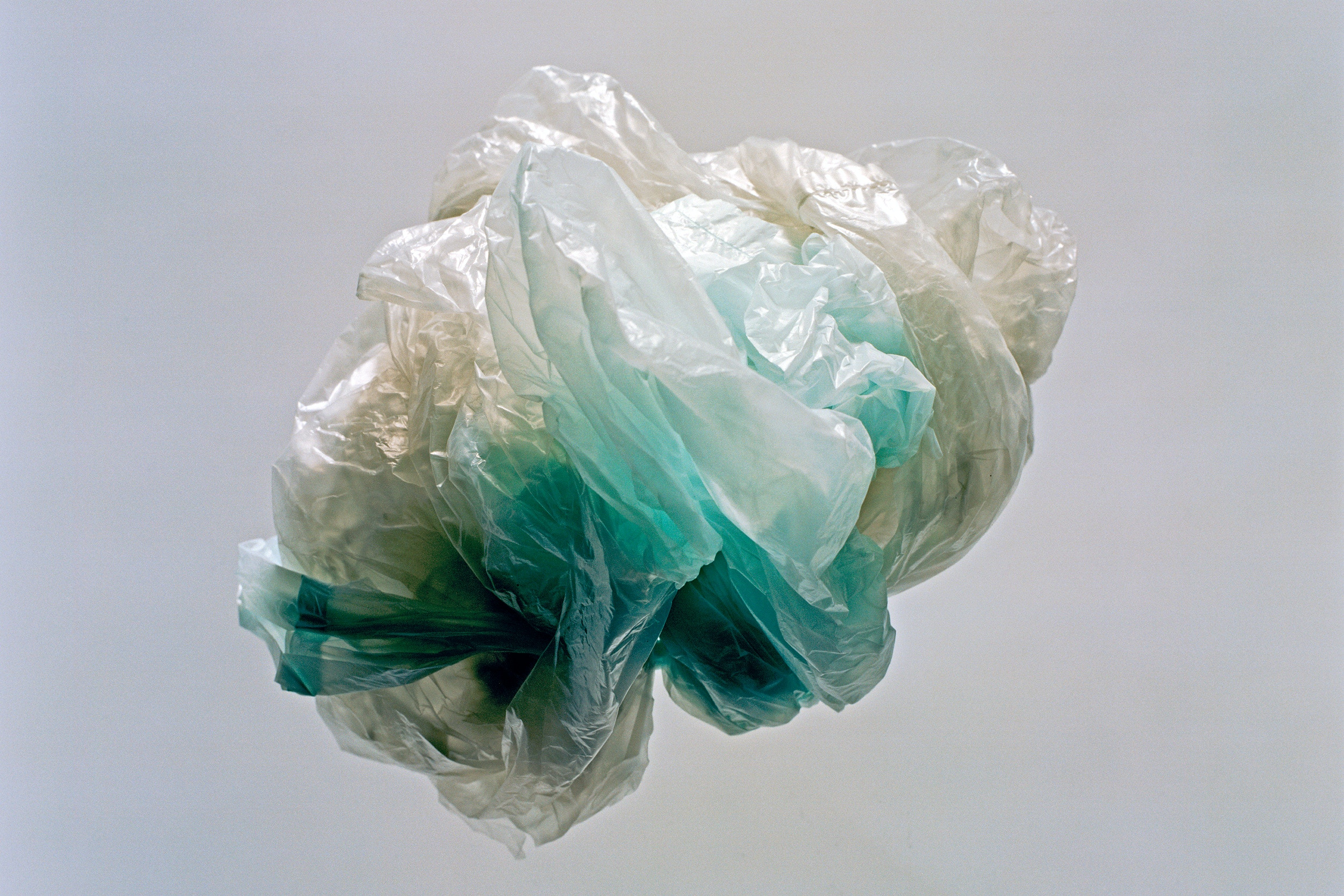 Crumpled plastic bag, studio shot