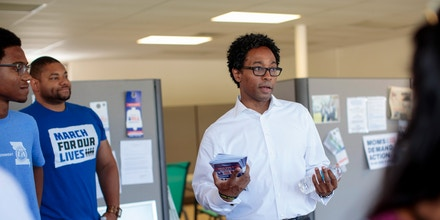 Wesley Bell, who ousted longtime St. Louis County prosecutor Bob McCulloch, at his campaign office in St. Ann, Mo., on Aug. 1, 2018.