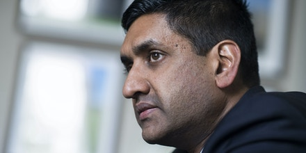 UNITED STATES - APRIL 10: Rep. Ro Khanna, D-Calif., is interviewed by CQ Roll Call via AP Images in his Cannon Building office on Wednesday, April 10, 2019. (Photo By Tom Williams/CQ Roll Call)