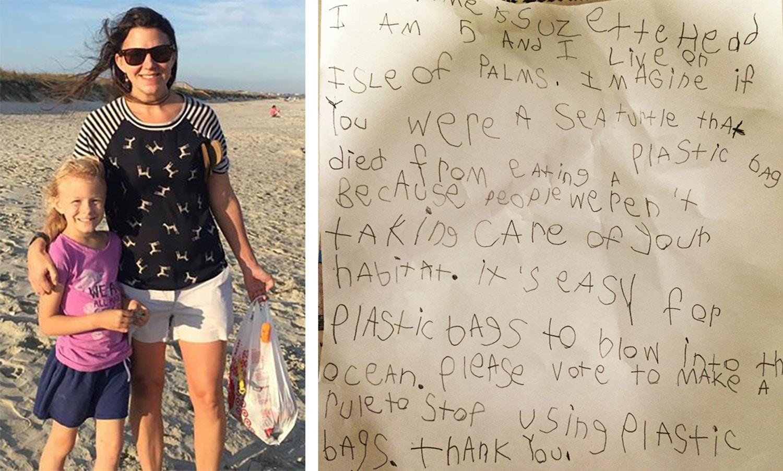 À esquerda, Kathy Kent com sua filha, Suzette Head, coletando lixo na praia. À direita está o discurso manuscrito de Suzette, que ela entregou em frente ao conselho municipal de Isle of Palms, na Carolina do Sul, em 26 de maio de 2015.