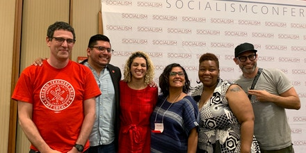 From left, Jesse Sharkey, president of the Chicago Teachers Union; Carlos Ramirez-Rosa, Chicago alderperson for the 35th Ward; Alyxandra Goodwin, co-chair of the Chicago chapter of the Black Youth Project 100; Rossana Rodriguez-Sanchez, Chicago alderperson for the 33rd Ward; Jeanette Taylor, Chicago alderperson for the 20th Ward; and Kevin Coval, poet and activist, at the Socialism 2019 Conference in Chicago in July.