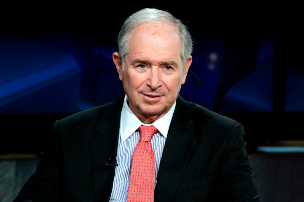"The Blackstone Group Chairman & CEO Stephen A. Schwarzman is interviewed by Maria Bartiromo during her ""Mornings with Maria Bartiromo"" program, on the Fox Business Network, in New York Friday, April 27, 2018. (AP Photo/Richard Drew)"
