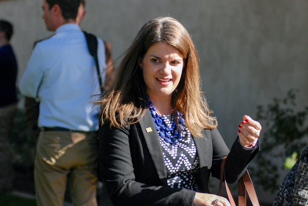 New Mexico Secretary of State Maggie Toulouse Oliver exits a courthouse in Santa Fe, N.M., Wednesday, Sept. 12, 2018, where the state Supreme Court ruled against her efforts to reinstate a straight-party voting option on the November ballot. The option would have allowed voters in New Mexico to select candidates from a particular party in all races by marking a single ballot box. Critics say that would have harmed independent, minor-party and Republican candidates in a state dominated by registered Democrats. (AP Photo/Morgan Lee)