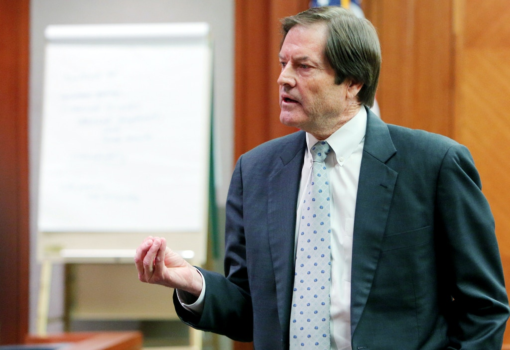 Pima County attorney Rick Unklesbay gives his closing argument in the case against Pamela Phillips who is accused of being involved in the death of Tucson businessman Gary Triano, Wednesday, April 2, 2014, in Tucson, Ariz. Phillips is accused of plotting the 1996 death of Triano, her former husband who was killed when a pipe-bomb exploded in his car at La Paloma Country Club. (AP Photo/Arizona Daily Sta,r Ron Medvescek, Pool)