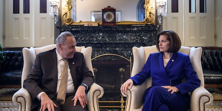 US Senate Minority Leader Charles E. Schumer (D-NY) and Senator Catherine Cortez Masto (D-NV), newly elected Democratic Senatorial Campaign Committee Chair, talk before a meeting on Capitol Hill November 15, 2018 in Washington, DC. (Photo by Brendan Smialowski / AFP)        (Photo credit should read BRENDAN SMIALOWSKI/AFP/Getty Images)