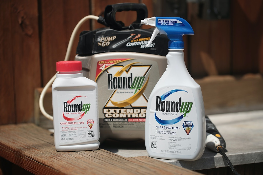 CHICAGO, ILLINOIS - MAY 14: Roundup weed killing products are shown on May 14, 2019 in Chicago, Illinois. A jury yesterday ordered Monsanto, the maker of Roundup, to pay a California couple more than $2 billion in damages after finding that the weed killer had caused their cancer.  This is the third jury to find Roundup had caused cancer since Bayer purchased Monsanto about a year ago. Bayer's stock price has fallen more than 40 percent since the takeover.  (Photo Illustration by Scott Olson/Getty Images)