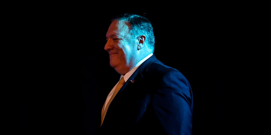 US Secretary of State Mike Pompeo looks on as before attending a speech event on India Policy organised by US embassy New Delhi on June 26,2019. - US Secretary of State Mike Pompeo hailed on June 26 Indian Prime Minister Narendra Modi's