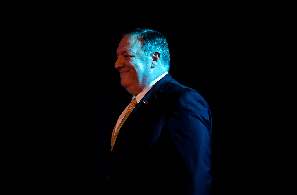 "US Secretary of State Mike Pompeo looks on as before attending a speech event on India Policy organised by US embassy New Delhi on June 26,2019. - US Secretary of State Mike Pompeo hailed on June 26 Indian Prime Minister Narendra Modi's ""wonderful"" re-election, vowing both sides will overcome a number of spats that have dogged relations under President Donald Trump. (Photo by Money SHARMA / AFP)        (Photo credit should read MONEY SHARMA/AFP/Getty Images)"