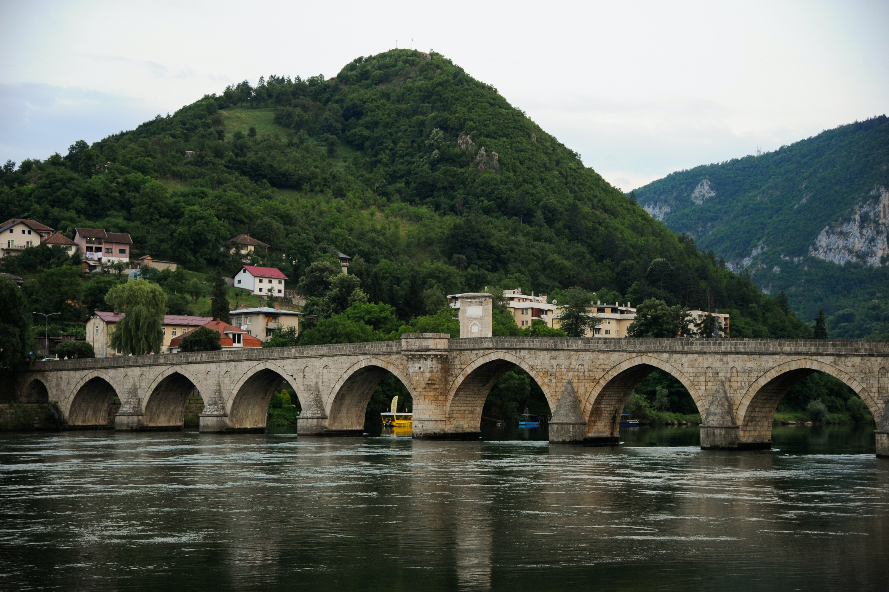 "Mehmed Paa Sokolovi Bridge is the famous Bridge from the Yugoslavian Novelist Ivo Andric's book ""the Bridge on the Drina"". It was built at the end of the 16th century by the architect Mimar Koca Sinan for Grand Vizir Mehmed Paa Sokolovi, Visegrad, Bosnia and Herzegovina, on July 03, 2019 (Photo by Hristo Rusev/NurPhoto via Getty Images)"