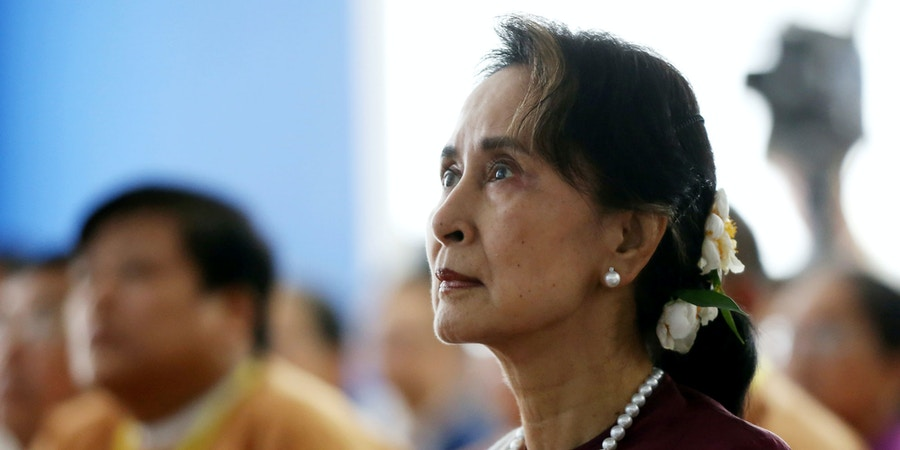 Myanmar's State Counsellor Aung San Suu Kyi attends the opening ceremony of the Yangon Innovation Centre in Yangon on July 17, 2019. (Photo by Thet AUNG / AFP)        (Photo credit should read THET AUNG/AFP/Getty Images)