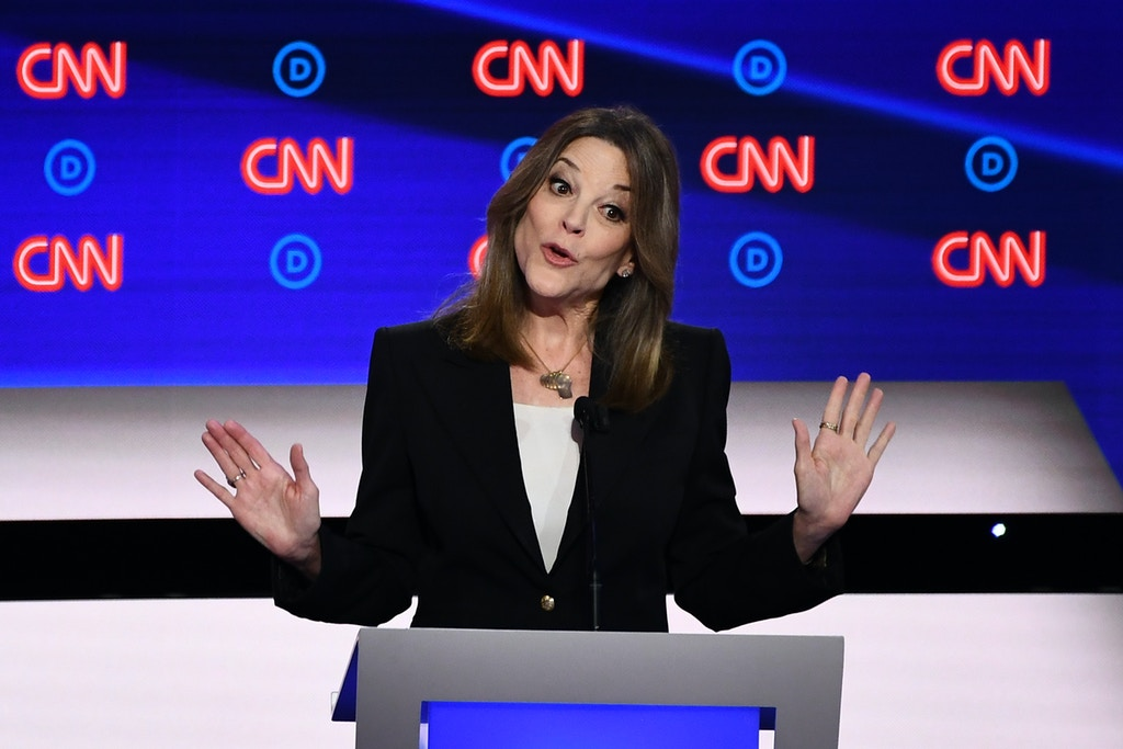 Democratic presidential hopeful US author and writer Marianne Williamson speaks during the first round of the second Democratic primary debate of the 2020 presidential campaign season hosted by CNN at the Fox Theatre in Detroit, Michigan on July 30, 2019.