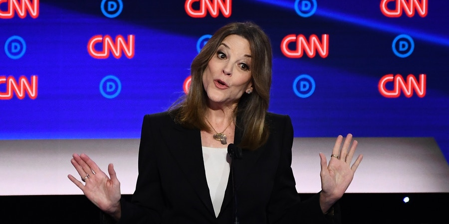 Democratic presidential hopeful US author and writer Marianne Williamson speaks during the first round of the second Democratic primary debate of the 2020 presidential campaign season hosted by CNN at the Fox Theatre in Detroit, Michigan on July 30, 2019. (Photo by Brendan Smialowski / AFP)        (Photo credit should read BRENDAN SMIALOWSKI/AFP/Getty Images)
