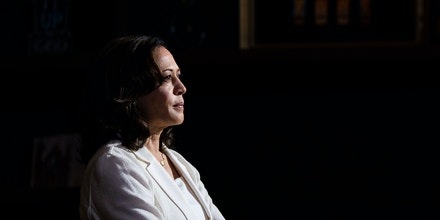 2020 Democratic presidential hopeful Senator Kamala Harris (D-CA) speaks during a health care roundtable on August 12, 2019 in Burlington, Iowa. - Harris finishes a multi-day bus tour across Iowa today. (Photo by Alex Edelman / AFP)        (Photo credit should read ALEX EDELMAN/AFP/Getty Images)