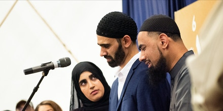 Hamid Hayat, center, speaks out following his release from prison at a press conference hosted by the Sacramento Valley office of the Council on American-Islamic Relations in McClellan Park, Calif., on Aug. 11, 2019.