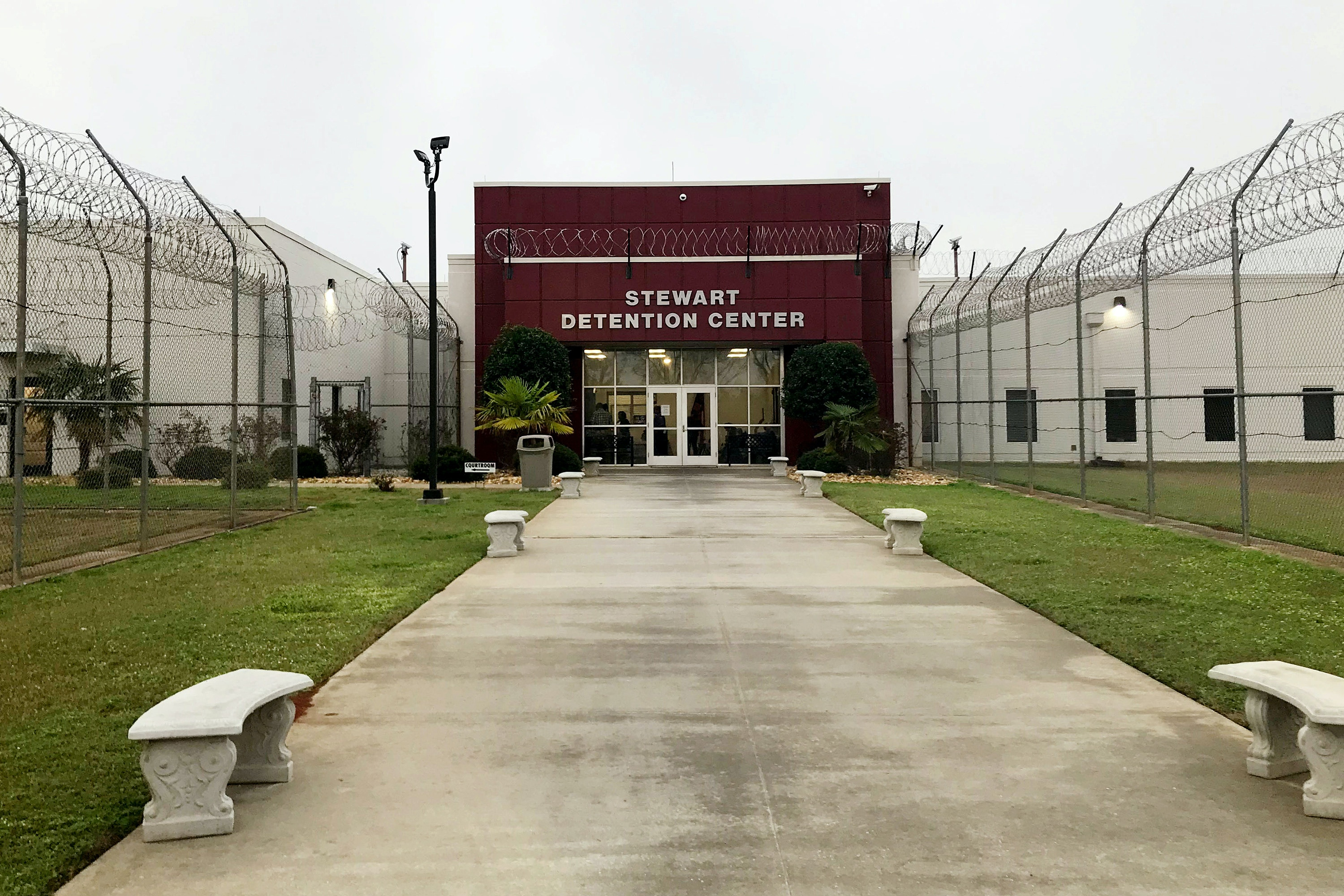 The entrance to the Stewart Detention Center is pictured in Lumpkin, Georgia, U.S. February 21 , 2018.  Picture taken February 21, 2018. To match Special Report USA-IMMIGRATION/COURT.  REUTERS/Reade Levinson - RC1415C4D0A0