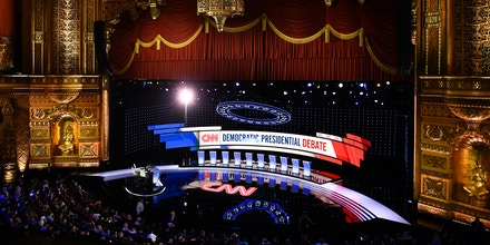 The stage of the Fox theatre is seen ready for the first round of the second Democratic primary debate of the 2020 presidential campaign season hosted by CNN at the Fox Theatre in Detroit, Michigan on July 30, 2019. (Photo by Brendan Smialowski / AFP)        (Photo credit should read BRENDAN SMIALOWSKI/AFP/Getty Images)