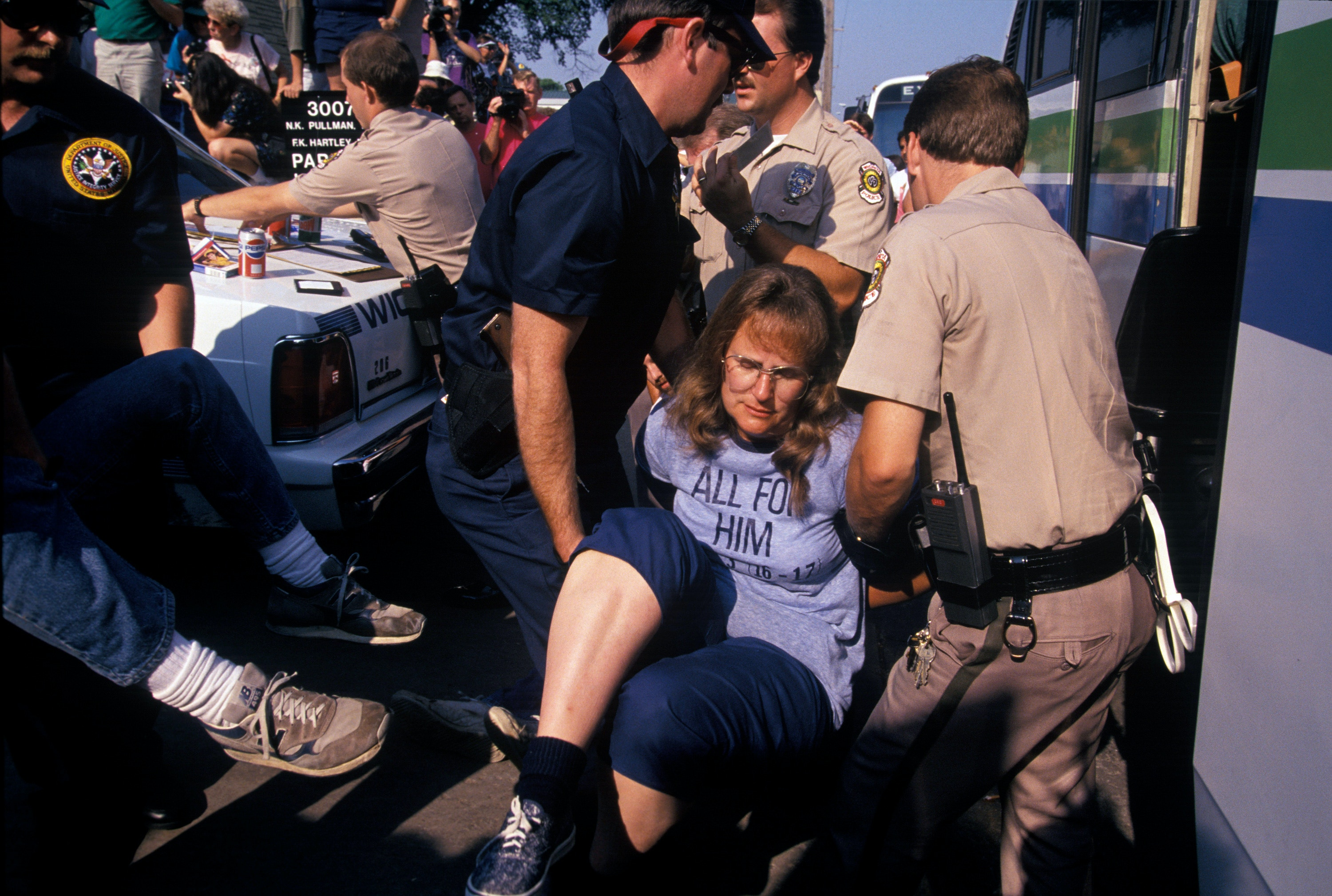 "Pro-life activists practice techniques of civil disobedience during protests outside a clinic that provided abortions in Wichita, Kansas, in August 1991. The clinic became the focus of massive demonstrations known as ""The Summer of Mercy."""