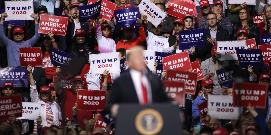 GREEN BAY, WI - APRIL 27: US President Donald Trump speaks to a crowd of supporters at a Make America Great Again rally on April 27, 2019 in Green Bay, Wisconsin. (Photo by Darren Hauck/Getty Images)