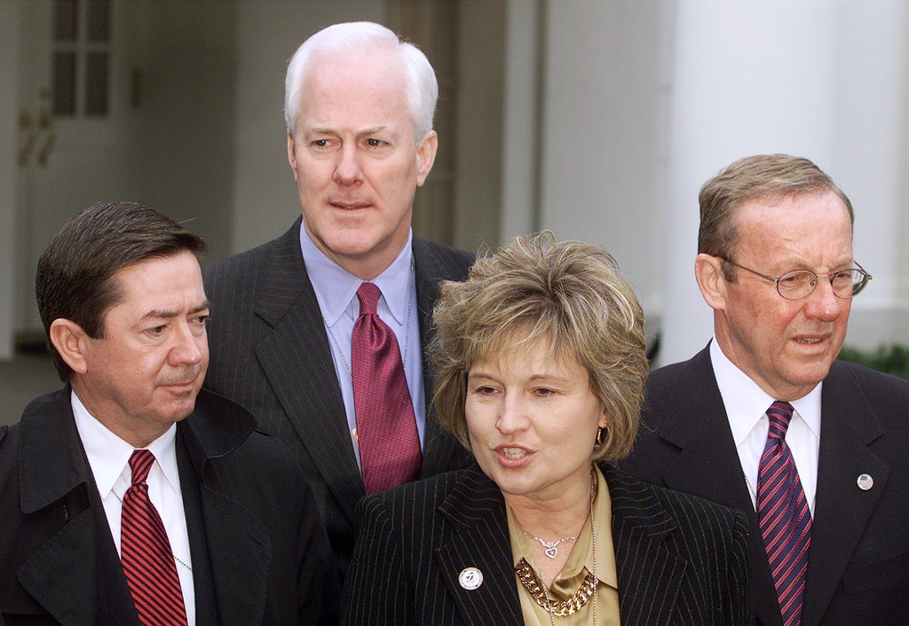 State attorney generals meet with reporters at the White House, Wednesday, March 20, 2002, after their meeting with President Bush. From left to right are Attorneys General;  Drew Edmondson, Okla., John Cornyn, Texas., Carla Stovall, Kan., and Mike Fisher, Pa.. (AP Photo/Ron Edmonds)