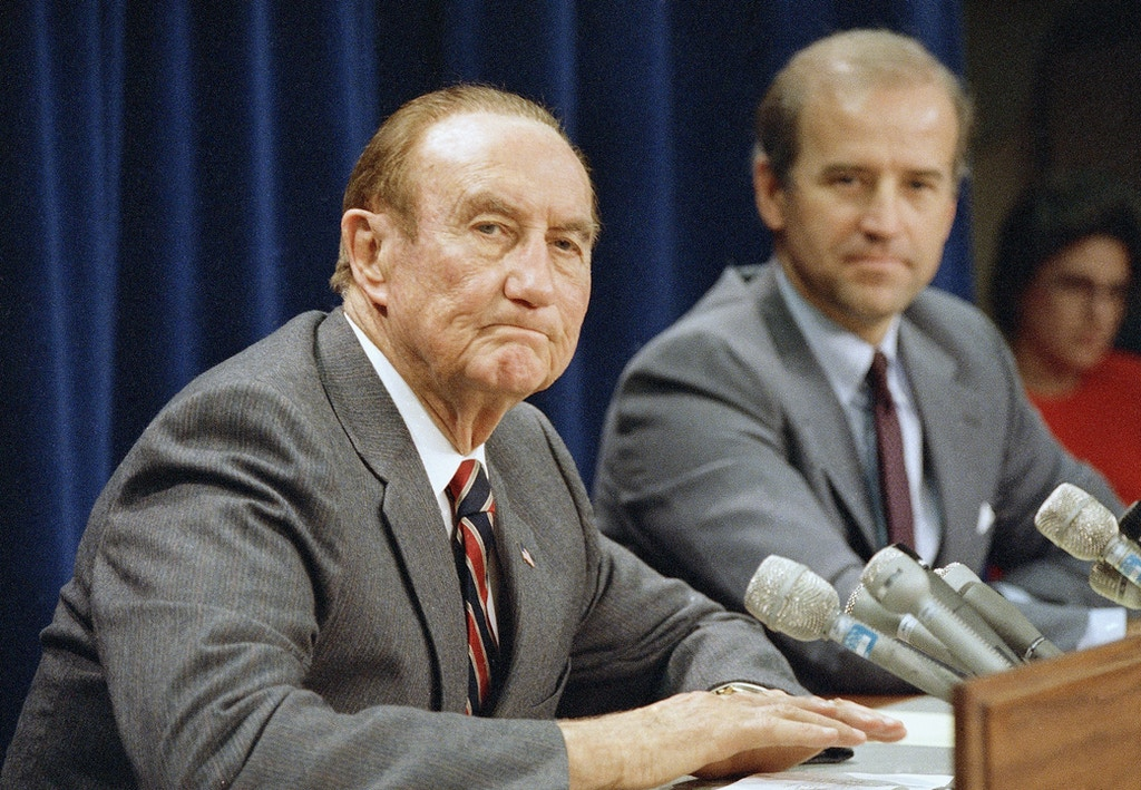 Sen. Joseph Biden, right, and Sen. Strom Thurmond are pictured in 1987. (AP Photo)