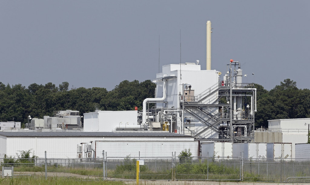 This photo taken Friday, June 15, 2018 near Fayetteville, N.C. shows the Chemours Company's PPA, or Polymer Processing Aid facility at the Fayetteville Works plant where the chemical known as GenX is produced. The chemical has been found in the Cape Fear River, a source of drinking water for much of the southeastern part of the state. (AP Photo/Gerry Broome)