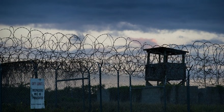 Sunset at Camp X-Ray detention facility on the Guantánamo Bay Naval Base, Cuba, on April 17, 2019.